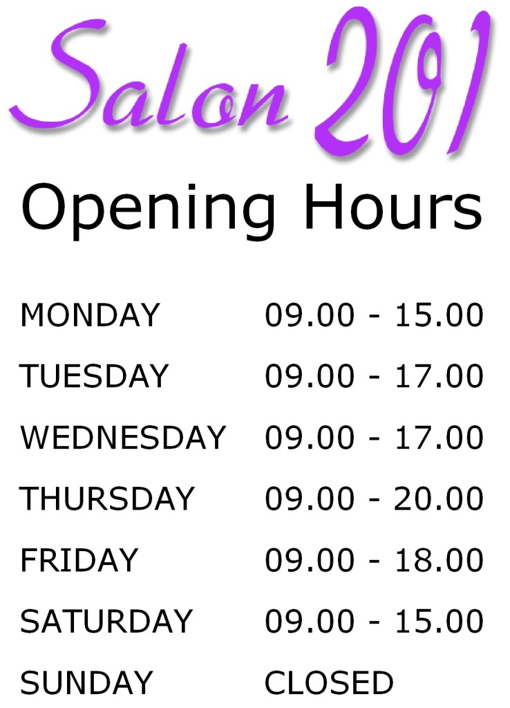 Opening Hours Salon 2