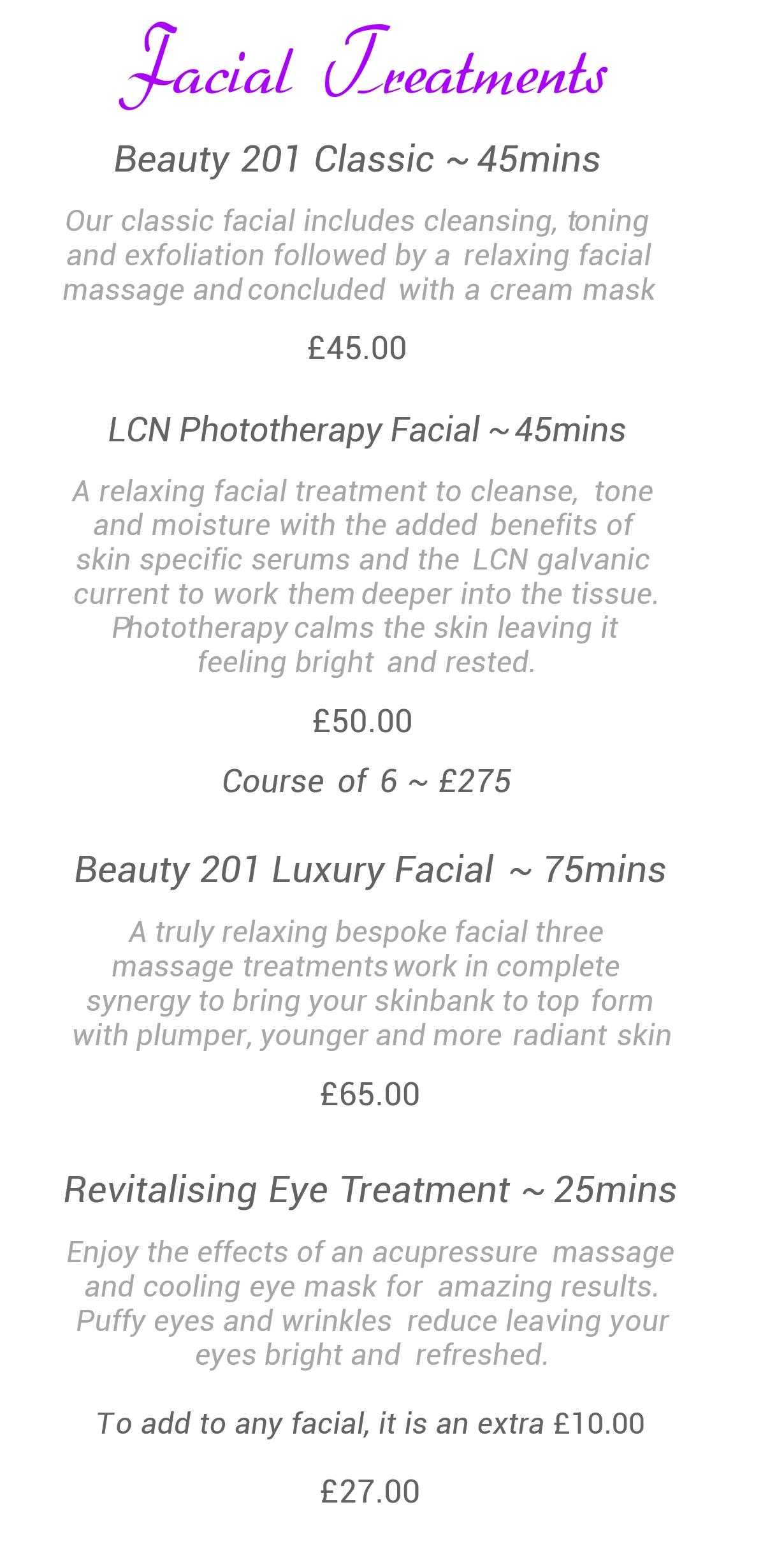 Facials Prices | Salon201