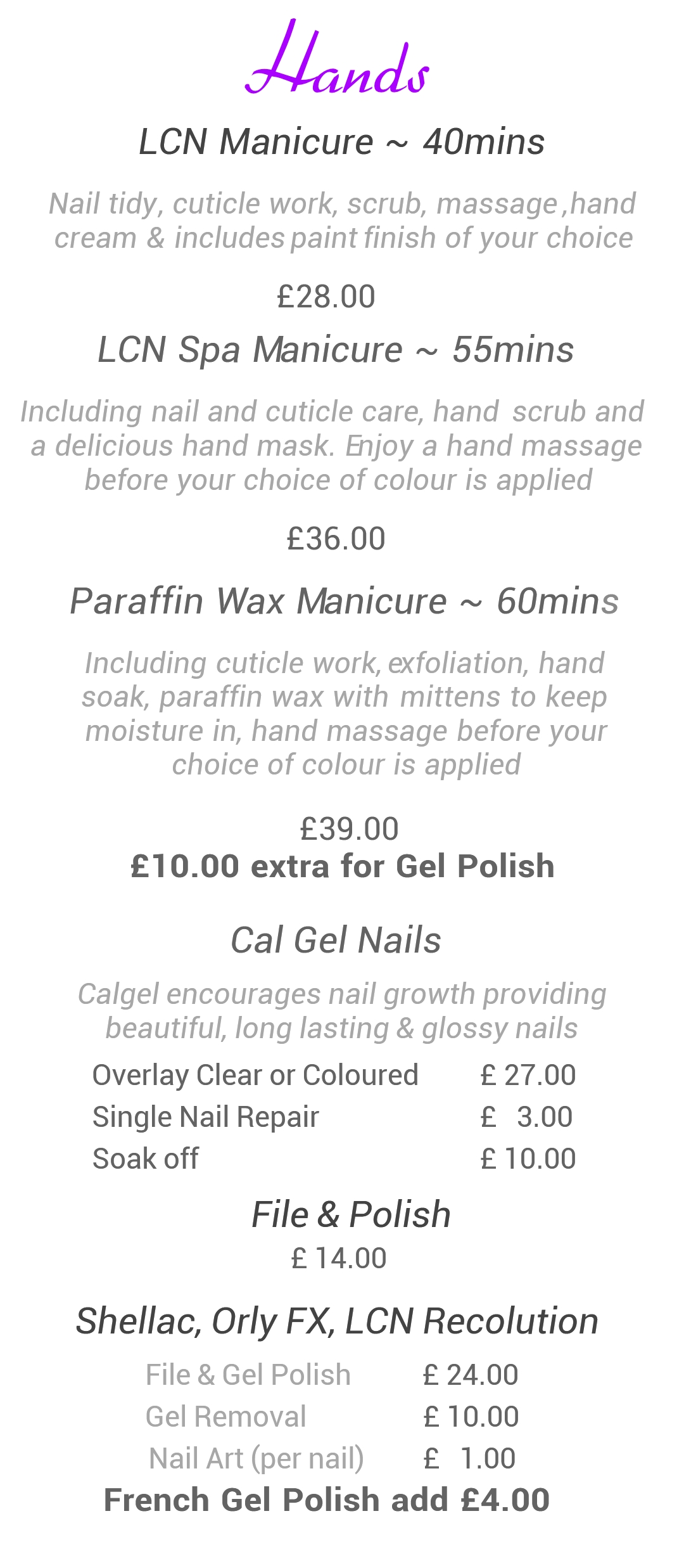 Manicure prices salon201 manicure prices prinsesfo Image collections